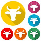 Bull head icon, color icon with long shadow. Simple vector icons set Stock Photography