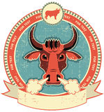 Bull head label on old paper texture.Vintage. Style stock illustration