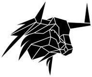 Bull head. Line art black and white bull head image stock illustration