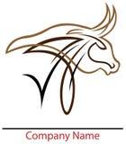 Bull head logo. Line art isolated bull head logo design royalty free illustration