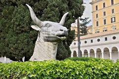 Bull head in Michelangelo`s cloister in Rome stock photos