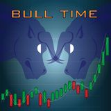 Bull head side view with uptrend candlesticks royalty free illustration