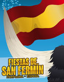 Bull Holding a Spain Flag and Fireworks for San Fermin, Vector Illustration. Poster with Spanish flag waving in a bull horn and fireworks in the sky Royalty Free Stock Photography