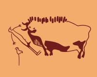 Bull, hombre asustado y trama Imagenes de archivo