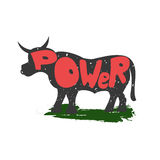 Bull with the inscription power. Symbolizes strength and opportu Royalty Free Stock Photo