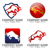 Bull Jumping Concept Logo Stock Photos