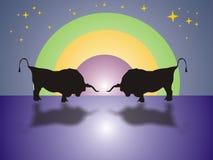 Bull-Kampf in der Nacht Stockfotos