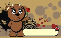 Bull kid cute emotion cartoon background rose Royalty Free Stock Images