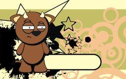 Bull kid emotion cartoon background annoyin Royalty Free Stock Photo