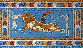 Bull-leaping fresco, Knossos palace, Crete, Greece. Acrobatics over a bull in unknown circumstances, probably ceremonial, Knossos palace, Crete, Greece Stock Image
