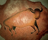 Bull like cave painting - primitive art Stock Photos