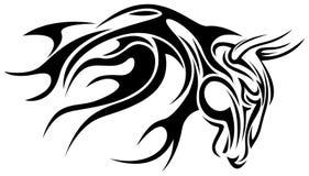 Bull. Line art artistic bull design on white background stock illustration