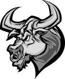 Bull Longhorn Mascot Head Cartoon Stock Image