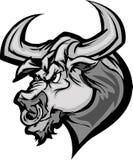 Bull Longhorn Mascot Head Cartoon Stock Image