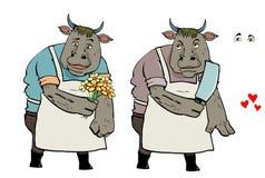 Bull in love Stock Image