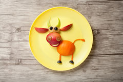 Bull made of apple and orange Royalty Free Stock Image