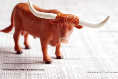 Bull Makert. A bull on a financial newspaper Royalty Free Stock Images