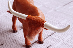 Bull Makert. A bull on a financial newspaper Stock Photography