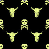 Bull and Man Skull Silhouette Seamless Pattern Royalty Free Stock Photo