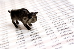 Bull market. Represents strongly growing stock market stock images