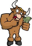 Bull Market. A brown bull counting money Royalty Free Stock Image