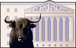 Bull Market. Bull in front of the New York Stock Exchange building stock illustration