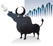 Bull market: angry steer with finance stock chart Royalty Free Stock Photography