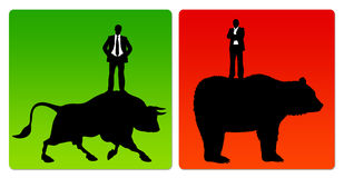 Bull market bear market. Ups and down on the stock exchange: bull market and bear market Stock Image