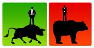 Bull market bear market Stock Image
