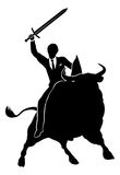 Bull Market Businessman Concept. A financial or stock market business conceptual illustration of a businessman riding a bull knight holding a sword and shield Stock Photography