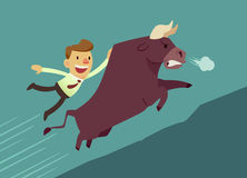 Bull market. Businessman hang on bull(market) running up hill Royalty Free Stock Images