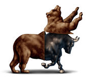 Bull Market Concept. Bull market economic recovery financial business concept as a bear opening up and revealing an emerging bullish stock market  as a metaphor Stock Image