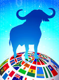 Bull Market on Flags Globe Stock Photography