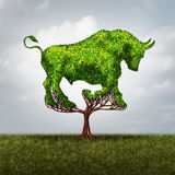Bull Market Growth. Financial and positive investing success concept as a tree shaped as a symbol for stock market gains and profits or environmental business Stock Photos