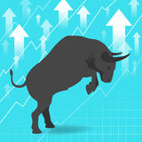Bull market presents uptrend stock market concept Royalty Free Stock Photo