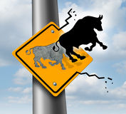 Bull Market Rise. Business and finance concept for wealth growth as a yellow traffic sign with a bull icon breaking out of the metal and escaping to higher Stock Photography