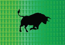 Bull Market - The Market Is Rising. Bull Market. The stocks are going up. Bull is the symbol of an uptrend market. Green is the color Stock Image