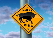 Bull Market Sign. As a yellow street icon showing the financial profit of investing in a good and wealthy economy with buyers of stock and full employment as a Stock Photo