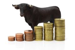 Bull market on stock exchange Stock Photos
