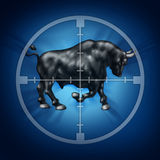 Bull Market Target. As crosshairs for rising securities prices as a horned animal in focus representing a bullish financial and economic upward trend Stock Photos