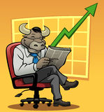 Bull Market. Vector illustration of a smiling bull in a businessman suit. There is a graph in the background with an upwards trend to represent a bull market Stock Photos