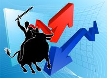 Bull Market Winner Concept. A financial or stock market business conceptual illustration of a businessman riding a bull knight holding a sword and shield Royalty Free Stock Photography