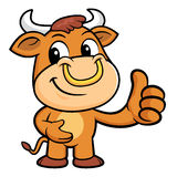 Bull Mascot the best gesture. Royalty Free Stock Images