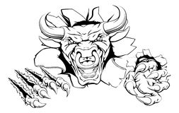 Bull mascot breakthrough. Concept of a bull sports mascot or animal character ripping through a wall Stock Photos