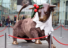 Bull mascot of Bullring shopping center. Decorated for Christmas Royalty Free Stock Photography