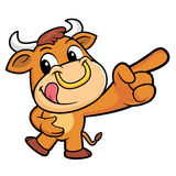 Bull Mascot is points a finger one direction. Stock Photo