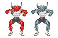 Bull mascot shot putter. Animal shot put mascot illustration Stock Photos