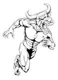 Bull mascot sprinting Royalty Free Stock Image
