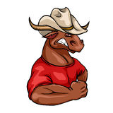 Bull mascot, team label design Royalty Free Stock Photo