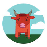 Bull on a meadow, sky with clouds Royalty Free Stock Images